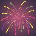Einfacher bunter dots fireworks Lizenzfreie Stockbilder