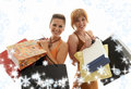 Einkaufenmädchen mit Schneeflocken Stockbild