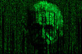 Einstein matrix style background consisting of symbols and numbers form a face resembling albert Einstein in matrix style Royalty Free Stock Photo
