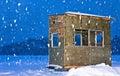 Eis-Fischen-Hütte Lizenzfreies Stockfoto