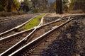 Eisenbahnspuren und -schalter Stockfotografie