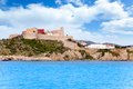 Eivissa ibiza town castle and church Royalty Free Stock Photo