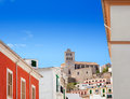 Eivissa Ibiza town with church under blue sky Royalty Free Stock Images