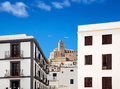 Eivissa Ibiza town with church under blue sky Stock Photos