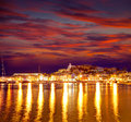 Eivissa ibiza town downtown at sunset in balearic dalt villa islands of spain Stock Photo