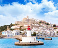 Eivissa ibiza town from red lighthouse red beacon Royalty Free Stock Images