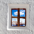 Eivissa Ibiza town view through window Stock Photography