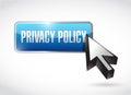 Ejemplo del botón y del cursor de la política de privacidad Foto de archivo