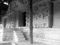 Ek balam mayan ruins relief images in stucco in yucatan mexico Royalty Free Stock Photo