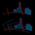 Ekg of city abstract heart beat cardiogram with landscape Stock Images