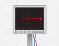 Ekg machine red flatline screen with Stock Image