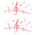 Ekg of music heart beat cardiogram with violin key shape Royalty Free Stock Image