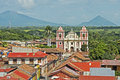 El calvario church in leon nicaragua facade of with volcanoes background Royalty Free Stock Photo