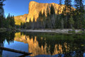 El capitan mountain seen at dusk sunset yosemite national pa across the river park california usa Royalty Free Stock Photos