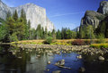 El Capitan reflecting in Merced River in Yosemite Royalty Free Stock Image