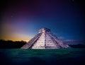 El Castillo pyramid in Chichen Itza, Yucatan, Mexico, at night Royalty Free Stock Photo