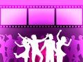 El disco de la tira de película indica a joy and dancing negativa Fotografía de archivo libre de regalías