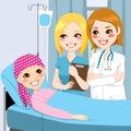 El doctor visit young girl de la mujer Imagen de archivo
