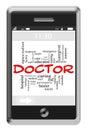 El doctor word cloud concept en el teléfono de la pantalla táctil Imagen de archivo libre de regalías