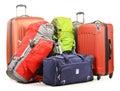 El equipaje que consiste en las mochilas grandes de las maletas y el viaje empaquetan Fotografía de archivo libre de regalías