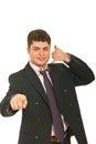 El gesticular masculino ejecutivo feliz me llama Fotografía de archivo libre de regalías