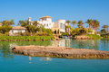 El gouna resort egypt view of canal and houses at north africa Royalty Free Stock Photo