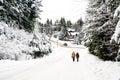 El hombre y la mujer caminan en una escena de la nieve del invierno Fotos de archivo