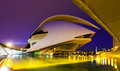 El palau de les arts reina sofia in evening valencia spain august city of and sciences on august valencia spain Royalty Free Stock Image