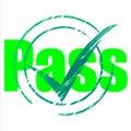 El paso tick indicates yes passing and aprueba Fotos de archivo libres de regalías
