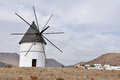 El Pozo de los Frailes windmill in Cabo de Gata, Spain Stock Photography