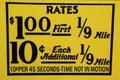 El taxi de new york city valora la etiqueta esta tarifa era en efecto a partir de abril de hasta julio de Imagen de archivo libre de regalías