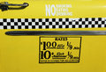 El taxi de new york city valora la etiqueta esta tarifa era en efecto a partir de abril de hasta julio de Foto de archivo
