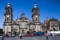 El zocalo in mexico city with cathedral mexico ci plaza Royalty Free Stock Photos