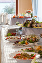 Elaborated table ready for reception with appetizers Royalty Free Stock Images