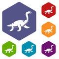 Elasmosaurine dinosaur icons set hexagon