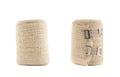 Elastic ace compression bandage warp isolated over white background set of two foreshortenings Stock Photos