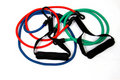 Elastic Exercise Bands in Red, Green, and Blue Royalty Free Stock Image