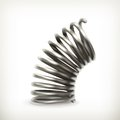 Elastic metal spring computer illustration on white background Stock Image