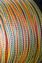 Elastic ropes close up detail of a reel of colorful Royalty Free Stock Images