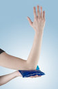 Elbow pain aches and tension it is also used for prevention treatment in competitive sports Royalty Free Stock Images