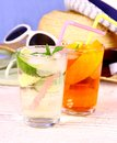 Elderflower, Orange cocktails with holiday background Royalty Free Stock Photo