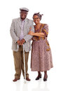 Elderly african couple smiling africam standing on white background Royalty Free Stock Images
