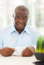 Elderly african man coffee cute american having at home Stock Photos