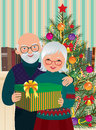 Elderly couple celebrating christmas vector illustration of at home Royalty Free Stock Photography