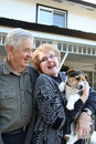 Elderly Couple with Dog Royalty Free Stock Photo
