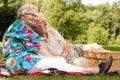 Elderly couple enjoying the spring Royalty Free Stock Photo