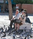 stock image of  Elderly couple feeding pigeons at Rossio Square in Lisbon