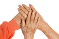 Elderly couple holding hands Royalty Free Stock Photo