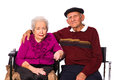 Elderly couple married on a white background Royalty Free Stock Photography