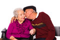 Elderly couple married on a white background Stock Photo